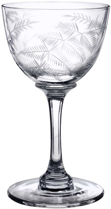 Six Hand-Engraved Crystal Liqueur Glasses With Ferns Design