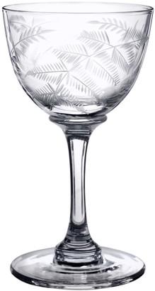 The Vintage List Six Hand-Engraved Crystal Liqueur Glasses With Ferns Design