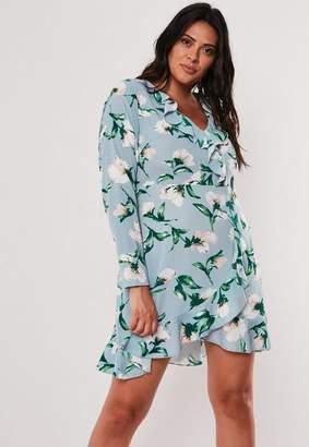 Missguided Plus Size Blue Floral Print Wrap Mini Dress