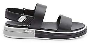 Prada Women's Double Band Leather Flatform Sandals