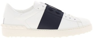Valentino Open Rockstud Lace-up Sneakers In Genuine Leather With Contrasting Band