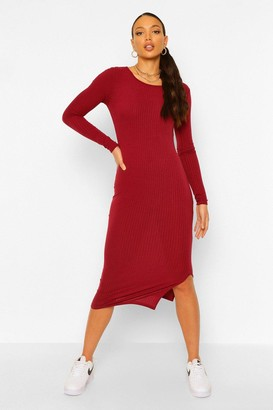 boohoo Tall Rib Long Sleeve Bodycon Midi Dress