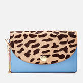 Diane von Furstenberg Women's Leopard Saddle Evening Clutch Bag Powder Blue