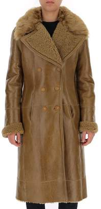 Chloé Fur Trim Double-Breasted Coat
