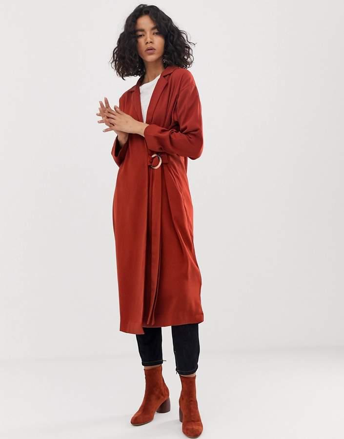 Asos Design DESIGN duster coat with faux shell trim detail