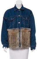 BCBGMAXAZRIA Fur-Trimmed Denim Jacket