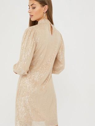 Monsoon Adara Sequin Short Dress - Blush
