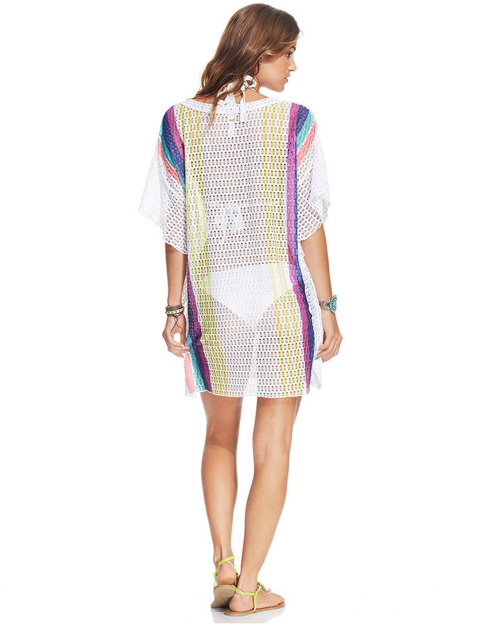 Roxy Butterfly-Sleeve Printed Crochet Cover Up
