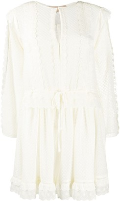 Twin-Set Embroidered Shift Mini Dress