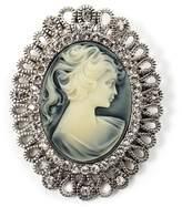 Avalaya Vintage Antique Silver Crystal Cameo Brooch