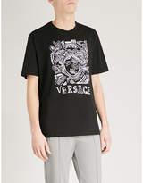 Versace Medusa-embroidered Cotton-jersey T-shirt