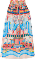 Temperley London Nymph Printed Silk Peplum Midi Skirt