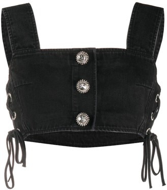 Alessandra Rich Lace-Up Side Cropped Top