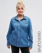 Asos Denim Americana Shirt with Embroidered Collar