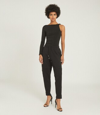 Reiss Amina - Twist Shoulder Top in Black