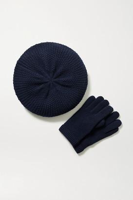 Portolano Cashmere Beret And Gloves Set - Navy