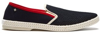 Rivieras Le Grand Bleu Cotton Canvas Moccasins - Mens - Blue Multi