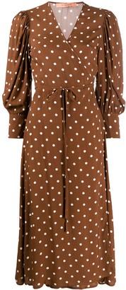 Andamane Polka Dot Print Wrap Style Dress