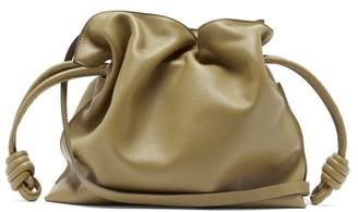 Loewe Flamenco Leather Clutch - Khaki