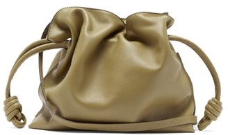 Loewe Flamenco Leather Clutch - Womens - Khaki