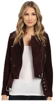 Blank NYC Burgundy Suede Moto Jacket in Morning After Women's Coat