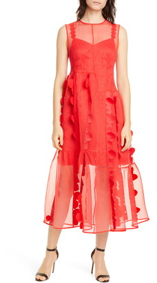PASKAL clothes Laser Cut Circle Organza Midi Dress