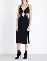 David Koma Crystal-embellished stretch-crepe gown