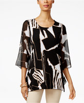 JM Collection Printed Three-Quarter-Sleeve Tunic, Only at Macy's