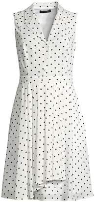 Donna Karan Sleeveless Polka Dot A-Line Shirtdress