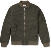 Nudie Jeans Alexander Organic Cotton-canvas Bomber Jacket - Green