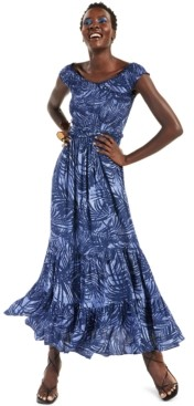 INC International Concepts Inc Printed Off-The-Shoulder Maxi Dress, Created for Macy's