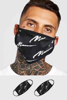 boohoo Mens Black 2 Pack MAN Script All Over Fashion Masks, Black