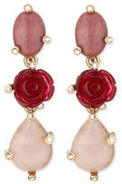 Oscar de la Renta Resin Rose & Crystal Triple-Drop Earrings