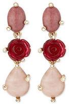 Oscar de la Renta Resin Rose & Crystal Triple-Drop Earrings