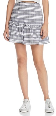 The Fifth Label Ivy Ruffled Faded Plaid Mini Skirt