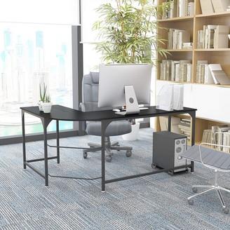 """Overstock 66"""" Reversible L-Shaped Desk Corner Gaming Computer Desk Office Workstation Home Study Writing Table Laptop Desk - Black"""
