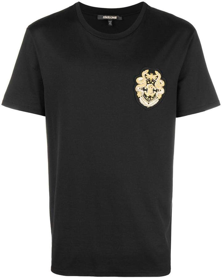 Roberto Cavalli logo patch T-shirt