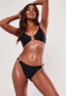 Missguided Black Ring Detail Plunge Bikini Top