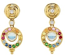 Temple St. Clair 18K Yellow Gold Celestial Double Tolomeo Drop Earrings with Rainbow Gemstones & Diamonds