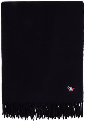MAISON KITSUNÉ Navy Tricolor Fox Wool Scarf