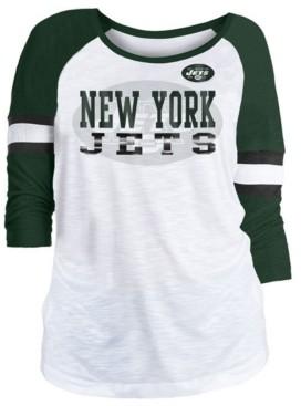 5th & Ocean Women's New York Jets Three-Quarter Sleeve Slub Raglan T-Shirt