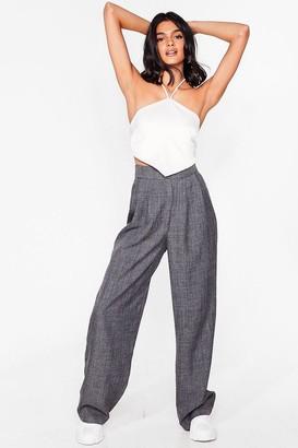 Nasty Gal Womens herringbone check peg leg trouser - Grey - 14