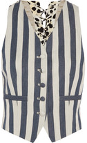 Roberto Cavalli Striped Denim And Printed Silk-crepe Vest - Blue