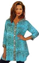 Lotustraders Blouse Shirt Tunic Top Gauzy Bali Batik 3/4 Sleeve Buttons Khaki Green 5X G423