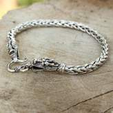 Sterling Silver Braided Chain Bracelet, 'Loyal Dragon'