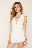 Forever 21 FOREVER 21+ Floral Lace Lace-Up Romper