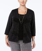 Alfred Dunner Plus Size Tis The Season Collection Metallic Layered-Look Sweater