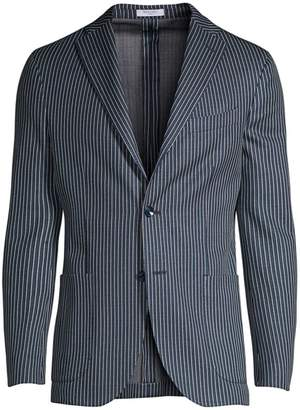 Boglioli Stripe Knit Jersey Chambray Jacket