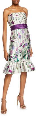 Marchesa Floral-Print Strapless Mikado Dress with Bow Detail & Ruffle Hem