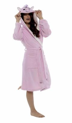 Daisy Dreamer Women's Unicorn Hooded Robe Soft Fleece Unicorn Dressing Gown